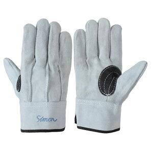 作業手袋 シモン 牛床革手袋 107AAA黒銀当付 10双組 simon 皮手袋
