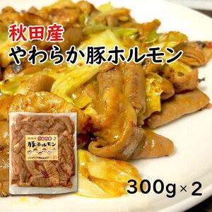 秋田産やわらか豚ホルモン/300g×2/ホルモン焼き/冷凍