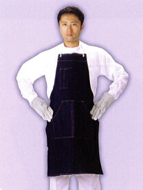 【デニム製品】 デニム胸付前掛テープ紐 ポケット付 ND-030 サイズ:フリー ※代引き不可※【NB】