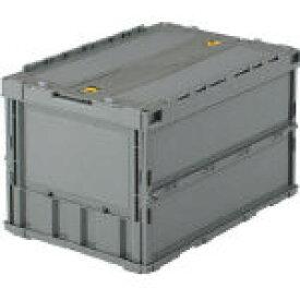トラスコ中山 薄型折りたたみコンテナ 50Lロックフタ付 グレー TR-C50B GY [A180302]