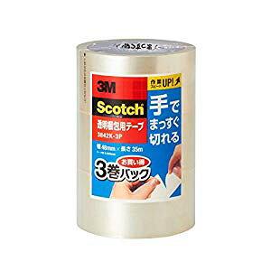 スリーエム 3Ma 透明梱包用テープ手でまっすぐ切れる3巻P [41676] 3842K-3P [F020313]