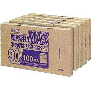 ジャパックス 業務用MAX 90L半透明100枚BOX [73755] SB93 [D011012]