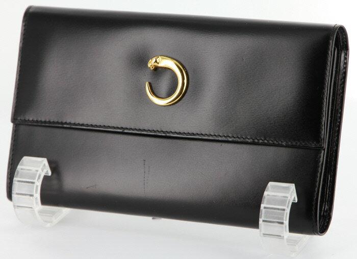 【中古】カルティエ Cartier 3つ折り財布 パンテール カーフ パンサーモチーフ 金色金具 L3000211 ブラック 黒 【お値打ち品】