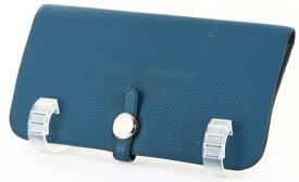 エルメス ドゴンロング 二つ折り長財布 財布□O 2011年製 ブルージーン 青 ブルー系【財布】【送料無料】【中古】