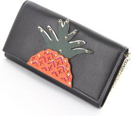 【未使用】財布 レディース財布 ヴァレンティノ ガラヴァーニ パイナップル スタッズ チェーンウォレット MW2P0680WP6 ブラック 黒 ブランド財布