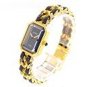 【中古】腕時計 レディース腕時計 時計 シャネル プルミエール H0001 クォーツ GP ブラック 黒文字盤 レデ…