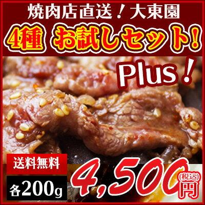 【あす楽】大東園 焼き肉お試しセット Plus! お買い得な増量タイプ ご家庭での焼肉に!BBQ バーベキューに! 注文を頂いてから調理し、冷蔵で発送しますので、届いてすぐ食べられます。<のし対応>カルビ、ロース、ホルモン、上ミノ
