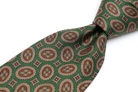 ジョルジオアルマーニ GIORGIO ARMANI プリント柄 グリーン 緑 シルク イタリア製 ブランド ネクタイ 送料無料 【中古】【良品】