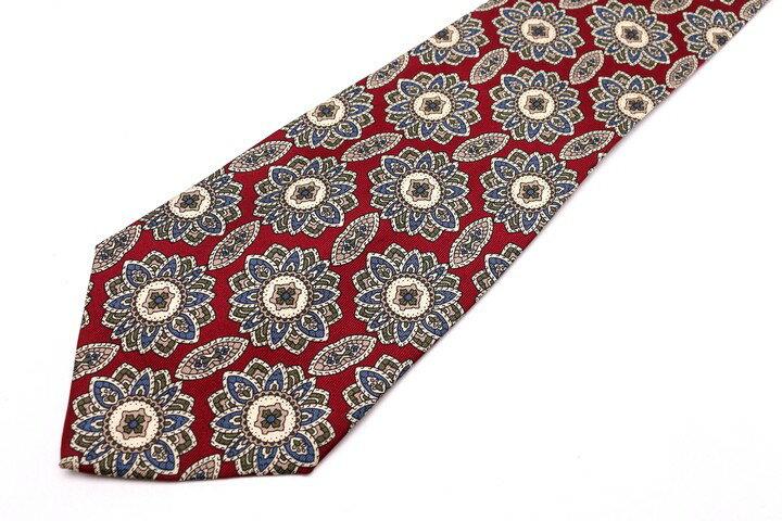 レノマ renoma 小紋柄 レッド 赤 シルク イタリア製 ブランド ネクタイ 送料無料 【中古】【美品】