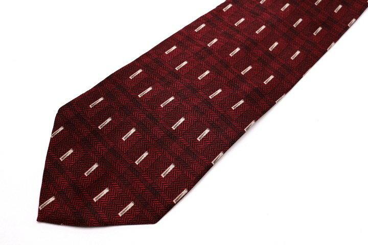 レノマ renoma チェック柄 レッド 赤 シルク イタリア製 ブランド ネクタイ 送料無料 【中古】【良品】