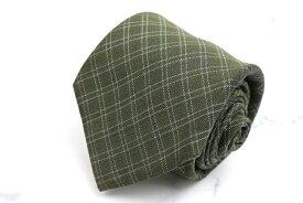 シップス SHIPS カシミヤ チェック柄 グリーン 緑 シルク 日本製 ブランド ネクタイ 送料無料 【中古】