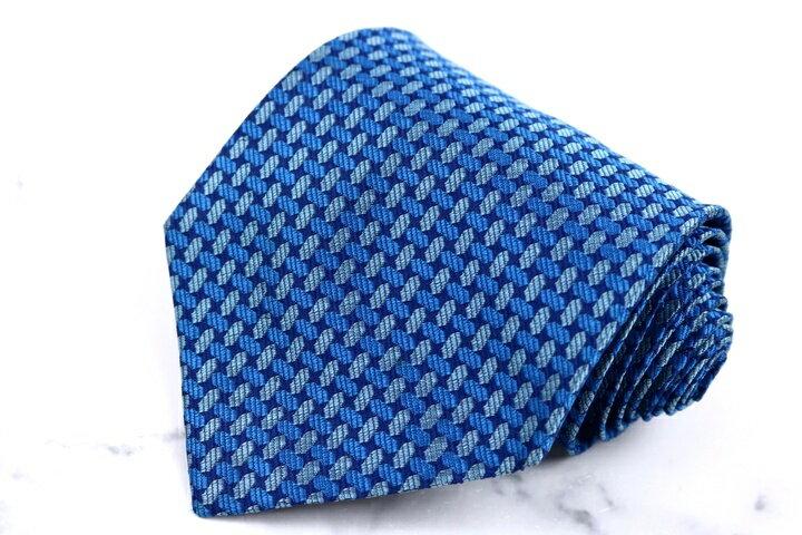 トラサルディ TRUSSARDI チェック柄 ブルー 青 シルク イタリア製 ブランド ネクタイ 送料無料 【中古】【良品】