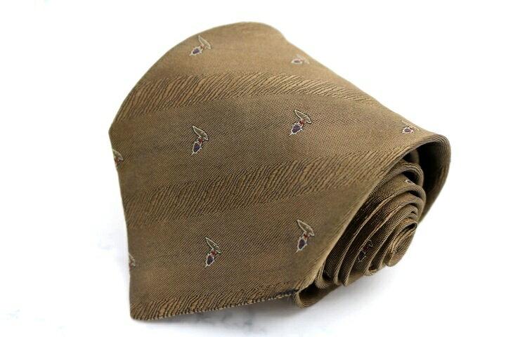 トラサルディ TRUSSARDI グレイハウンド ストライプ柄 ブラウン シルク イタリア製 ブランド ネクタイ 送料無料 【中古】
