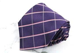 レノマ renoma チェック柄 パープル 紫 シルク ブランド ネクタイ 送料無料 【中古】【良品】