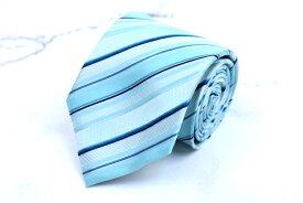 マリクレール marie claire ストライプ柄 ブルー シルク ブランド ネクタイ 送料無料 【中古】【美品】