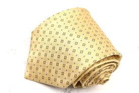 チャップスラルフローレン CHAPS Ralph Lauren スクエアドット柄 日本製 シルク 小紋柄 イエロー シルク ブランド ネクタイ 送料無料 【中古】【良品】