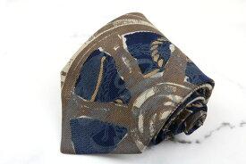 ジャンフランコフェレ GIANFRANCO FERRE 羅針盤 舵 シルク イタリア製イタリア製 総柄 ブルー シルク ブランド ネクタイ 送料無料 【中古】【良品】