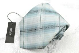 ダナキャラン DONNA KARAN DKNY シルク 日本製 チェック柄 ブルー シルク ブランド ネクタイ 送料無料 【中古】【新品未使用】