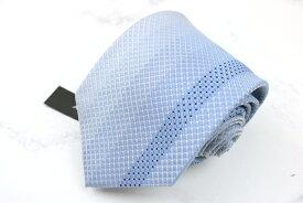 ダナキャラン DONNA KARAN DKNY 日本製 シルク チェック柄 ブルー シルク ブランド ネクタイ 送料無料 【中古】【新品未使用】