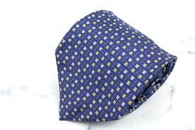 バティストーニ BATTISTONI 小花柄 伊製 シルク 小紋柄 ブルー シルク ブランド ネクタイ 送料無料 【中古】【良品】