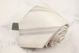カルバンクライン Calvin Klein シルク 日本製 スリット糸使用 フォーマル ストライプ柄 ホワイト シルク ブランド ネクタイ 送料無料 【中古】【新品未使用】