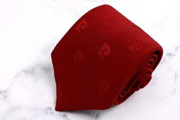 ピエールカルダン pierre cardin 地模様 日本製 ロゴグラム柄 レッド シルク ブランド ネクタイ 送料無料 【中古】