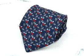 バティストーニ BATTISTONI ロゴ BAT970 シルク イタリア製 花柄 ネイビー シルク ブランド ネクタイ 送料無料 【中古】【美品】