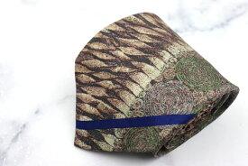 モンタナ Mantana 総柄 シルク 日本製 ストライプ柄 ブルー シルク ブランド ネクタイ 送料無料 【中古】【美品】