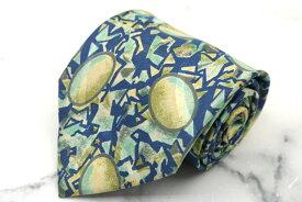 モンタナ Mantana ロゴ CM038 シルク 日本製 総柄 グリーン シルク ブランド ネクタイ 送料無料 【中古】【良品】