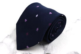 ブリューワー BREUER ハート スペード柄 フランス製 シルク 小紋柄 ネイビー シルク ブランド ネクタイ 送料無料 【中古】【良品】