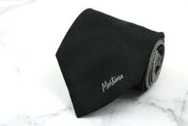 モンタナ Mantana ロゴ 伊製 シルク ワンポイント ブラック シルク ブランド ネクタイ 送料無料 【中古】【美品】