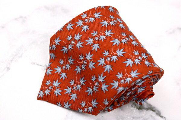 ロエベ LOEWE 紅葉柄 イタリア製 シルク 総柄 オレンジ シルク ブランド ネクタイ 送料無料 【中古】【良品】
