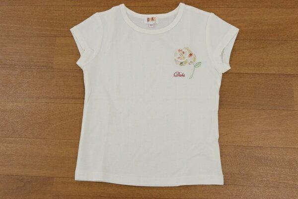 [美品] ダックス DAKS 100サイズ ワンポイント 半袖 Tシャツ フラワーモチーフ 刺繍 女の子 子供服 トップス ホワイト ブランド古着 【中古】