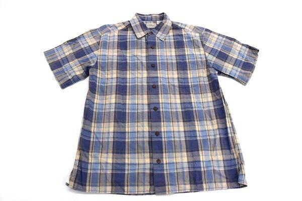 [美品] エルエルビーン L.L.Bean Sサイズ カジュアルシャツ ボタンシャツ 半袖 チェック 登山 ハイキング アウトドア メンズ 服 ブルー ブランド古着 【中古】