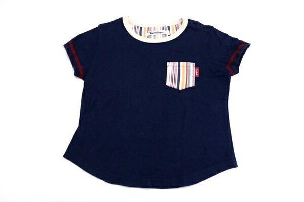 [良品] ファミリア familiar 120サイズ ワンポイント 半袖 Tシャツ クルーネック ポケットデザイン 女の子 子供 キッズ トップス ネイビー ブランド古着 【中古】