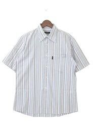 [良品] バーバリーブラックレーベル BURBERRY BLACK LABEL 2サイズ ストライプ シャツ メンズ 半袖 シンプル タグに記名 ブルー ブランド古着 【中古】