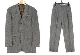 [美品] イヴサンローラン Yves Saint Laurent -サイズ スーツ セットアップ 上下 2点セット ブレザー スラックス ツイード メンズ 紳士服 ブラウン ブランド古着 【中古】