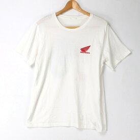 [良品] ジーユー GU Lサイズ プリント Tシャツ メンズ 半袖 プリント バイク HONDA コラボ ホワイト ブランド古着 【中古】