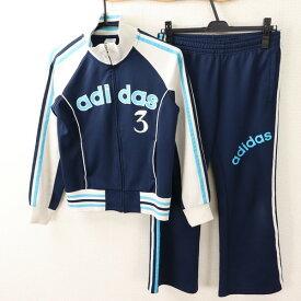 アディダス adidas Mサイズ ロゴ ジャージ メンズ セットアップ ハイネック 3ライン ビッグロゴ ネイビー ブランド古着 【中古】