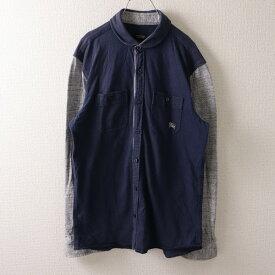 バーバリーブラックレーベル BURBERRY BLACK LABEL 2サイズ ワンポイント シャツジャケット メンズ ロゴ 刺繍 長袖 ネイビー ブランド古着 【中古】