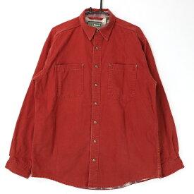 [美品] エルエルビーン L.L.Bean シャツジャケット メンズ 胸ポケット チェック柄 カジュアル 赤 ブランド古着 【中古】