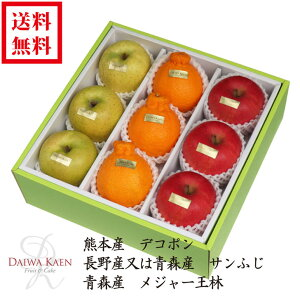 【送料無料】 2月 旬のフルーツ 詰合せ 化粧箱 高級 フルーツ 果物 ギフト 自家用 プレゼント 熊本産 デコポン サンふじ りんご 王林 高糖度 [お供え] [お見舞い] [御礼] [お祝い] [内祝い] [贈り