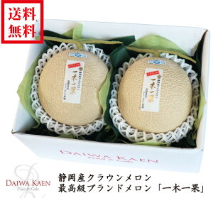 【送料無料】 静岡産クラウンメロン 高級 フルーツ 果物 ギフト 自家用 プレゼント 一木一果 [御供え] [お見舞い] [お祝い] [内祝い] [御礼] [贈り物][入学祝][就職祝][母の日]