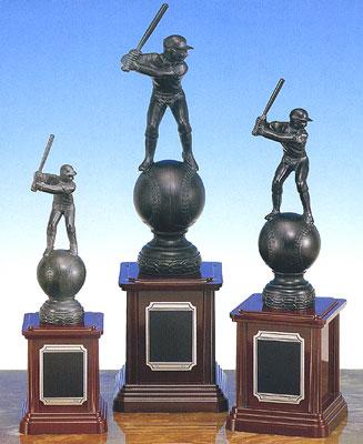 トロフィー:野球ブロンズトロフィー:ボール&バッター(高さ335mm)BT3566-A【文字彫刻無料】[F/K2]