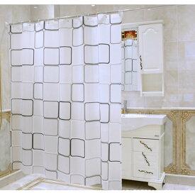 シャワーカーテン白黒スクエア 防水防カビ加工   カーテンリング付属  180cm×200cm