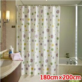 カットもできる シャワーカーテン カーテンリング付 横180×縦200cm パステルフラワー