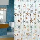 シャワーカーテン 防水防カビ加工 カーテンリング付属 貝とヒトデ  180cm×200cm