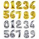 数字バルーン 誕生日 ナンバーバルーン 40cm ゴールド/シルバー/ローズゴールド アルミ 風船 数字バルーン パーティー…