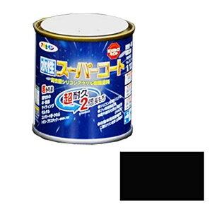 アサヒペン ペンキ 水性スーパーコート 水性多用途 ツヤ消し黒 1/12L