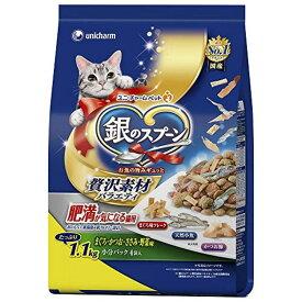 銀のスプーン キャットフード 贅沢素材バラエティ 肥満が気になる猫用 まぐろ・かつお・ささみ・野菜味に天然小魚・かつお節・まぐろ味フレーク添え 1.1kg